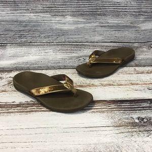 Vionic Tide Bronze Sequins Thong Flip Flop Size 9